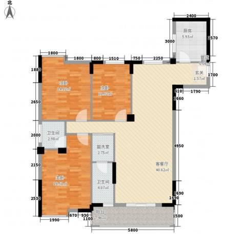 花园山庄3室2厅2卫1厨146.00㎡户型图