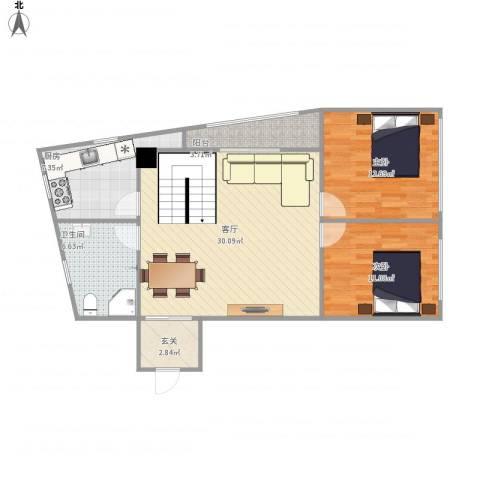 古槐家园2室1厅1卫1厨100.00㎡户型图