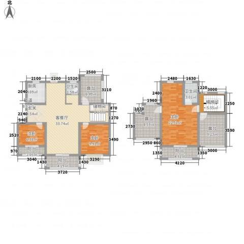 华美生态园3室1厅2卫1厨122.99㎡户型图