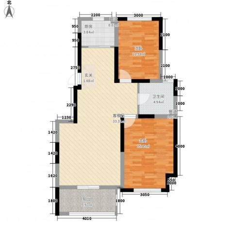 海峡・湖尚城2室1厅1卫1厨106.00㎡户型图