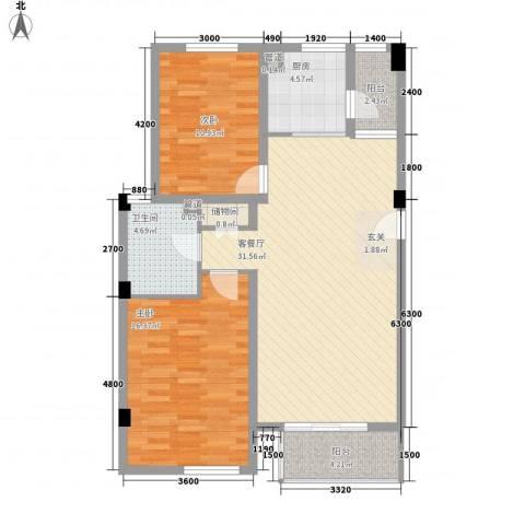 大华锦绣华城第9街区2室1厅1卫1厨85.00㎡户型图
