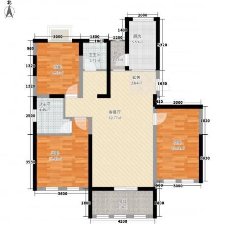 海峡・湖尚城3室1厅2卫1厨87.75㎡户型图
