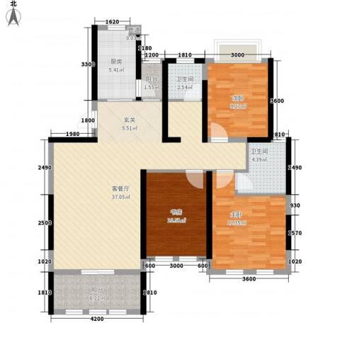 海峡・湖尚城3室1厅2卫1厨89.33㎡户型图