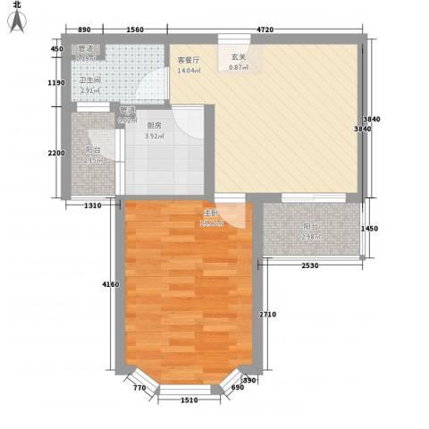 大华锦绣华城第9街区1室1厅1卫1厨57.00㎡户型图