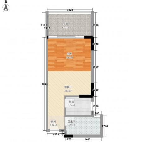 万泉河家园1厅1卫1厨53.00㎡户型图