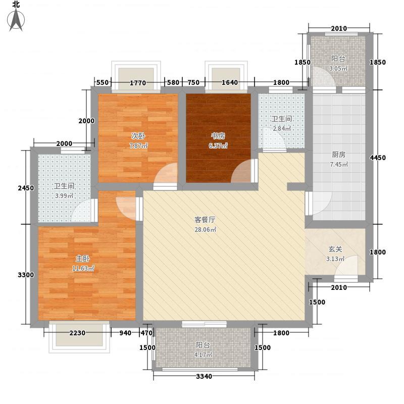和信香榭澜郡17.00㎡2、3、4号楼标准层C2户型3室2厅2卫1厨