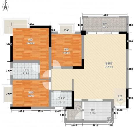 渝复新城丽都3室1厅2卫1厨91.59㎡户型图