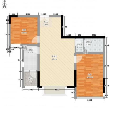 渝复新城丽都2室2厅1卫1厨63.15㎡户型图