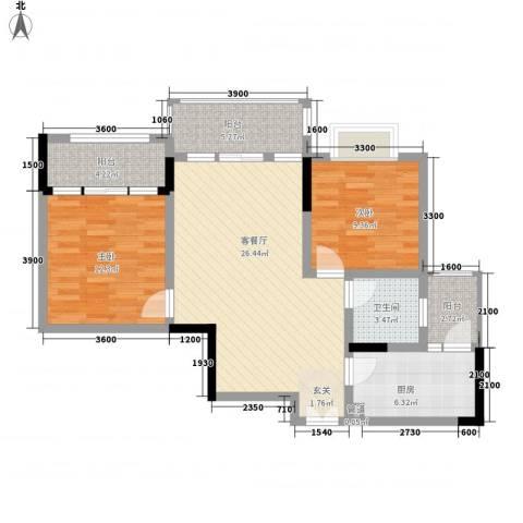 渝复新城丽都2室1厅1卫1厨73.00㎡户型图