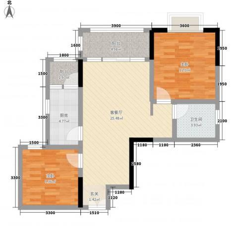 渝复新城丽都2室1厅1卫1厨67.00㎡户型图