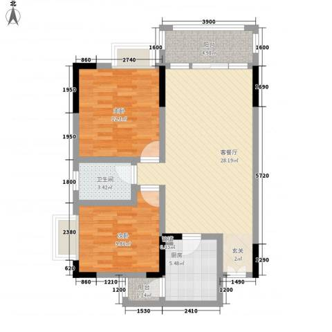 渝复新城丽都2室1厅1卫1厨65.50㎡户型图