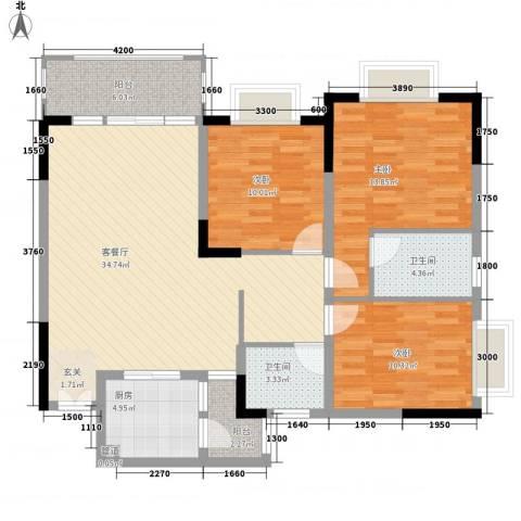 渝复新城丽都3室1厅2卫1厨89.90㎡户型图