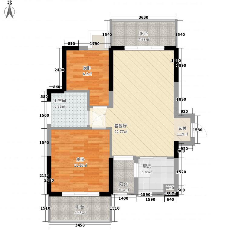 栖境园76.10㎡3栋1、2单元C2户型2室2厅1卫1厨