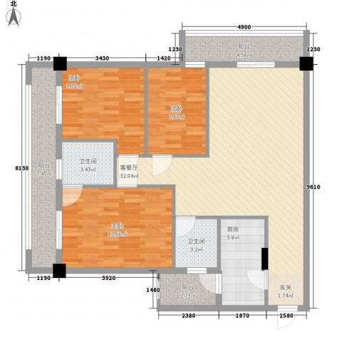 LAKE街区知音国际茶城3室1厅2卫1厨118.00㎡户型图