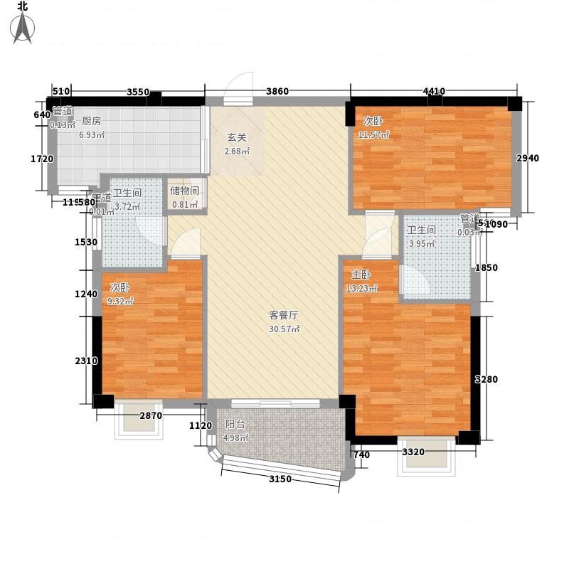 东泰城市花园12.00㎡3幢标准层02户型3室2厅2卫1厨