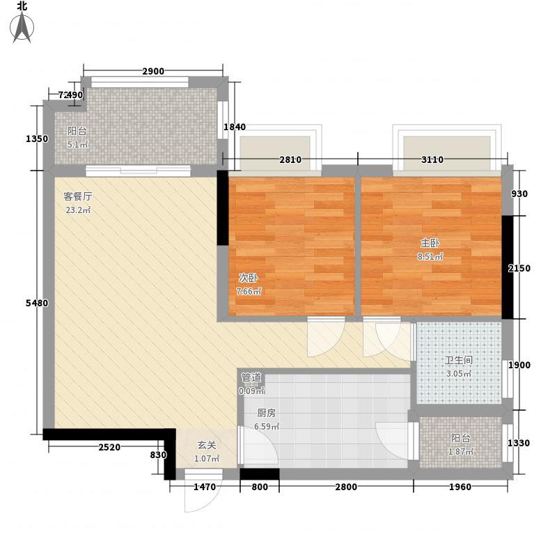 佛山时代倾城7.00㎡13栋11-18层03单元户型2室2厅1卫1厨