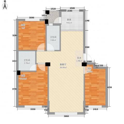 自由向3室1厅2卫1厨105.00㎡户型图