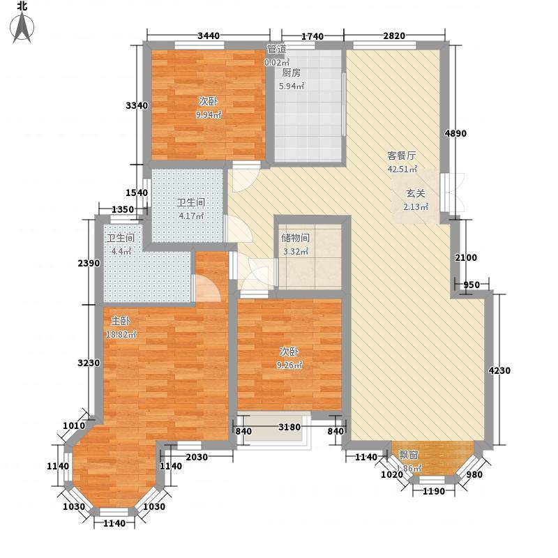 万祥・英伦公馆132.60㎡B户型3室2厅2卫1厨