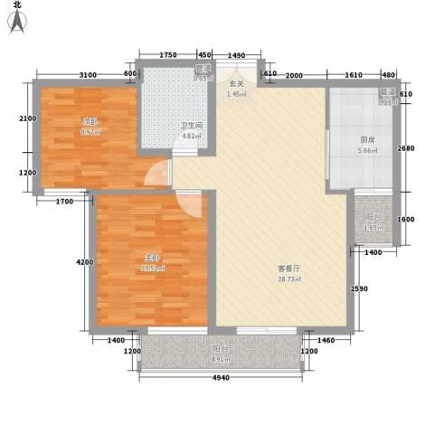星河城六期2室1厅1卫1厨99.00㎡户型图