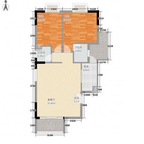 响水明苑2室1厅2卫1厨76.51㎡户型图