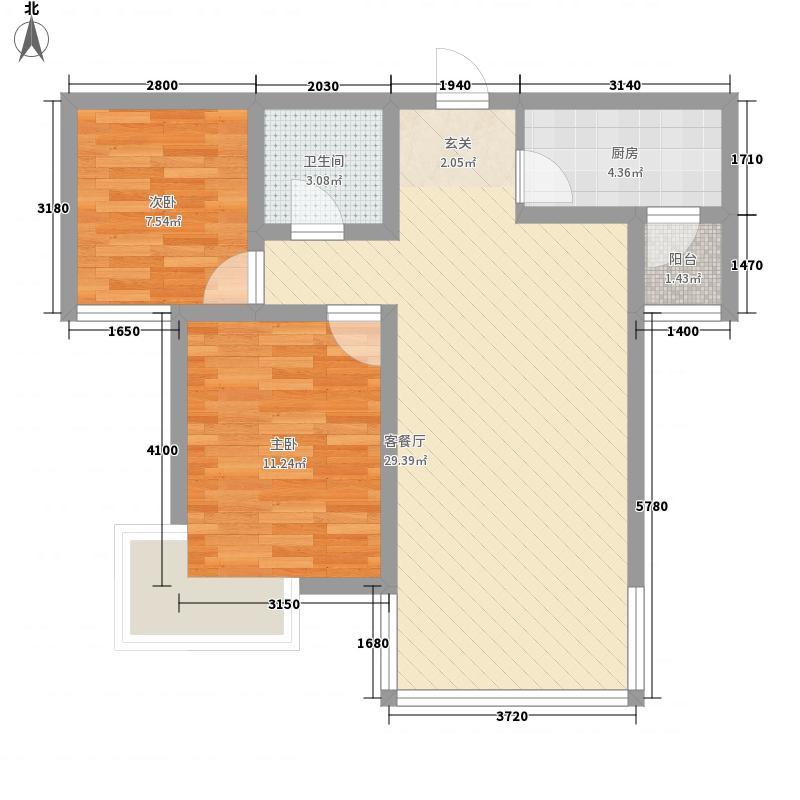 西固人家2室1厅1卫1厨83.00㎡户型图