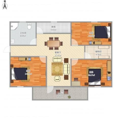 湖畔花园3室1厅1卫1厨131.00㎡户型图