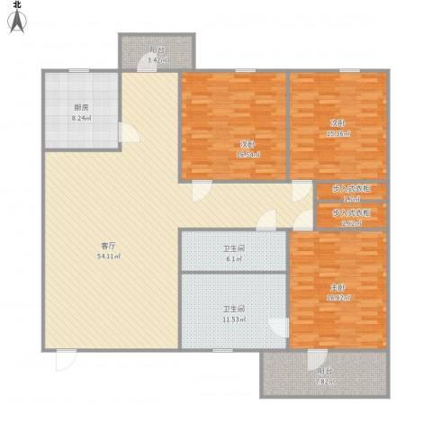 银泉花园3室1厅2卫1厨193.00㎡户型图