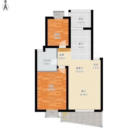 天地新城2室1厅1卫1厨105.00㎡户型图