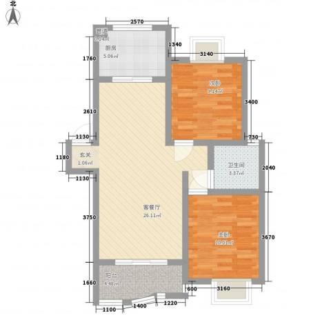 临湖社区2室1厅1卫1厨85.00㎡户型图