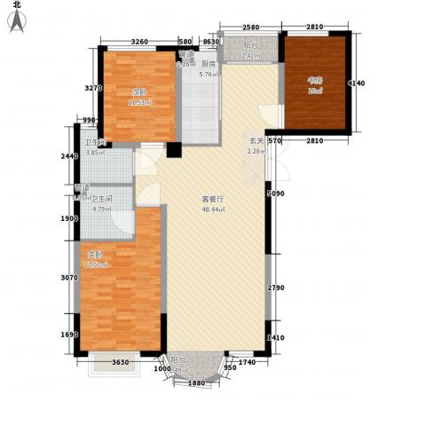 香堤湾3室1厅2卫1厨146.00㎡户型图