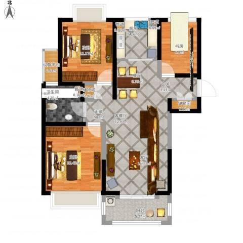合生财富海景公馆3室1厅1卫1厨120.00㎡户型图