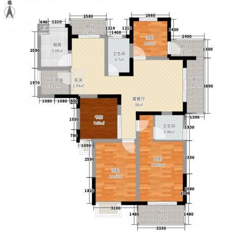 冠城华府4室1厅2卫1厨144.00㎡户型图
