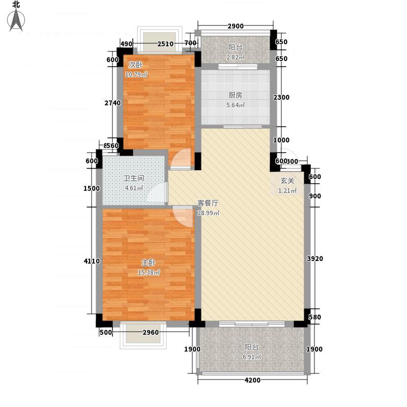 新城俊园8.15㎡1、2号楼A1、A2户型2室2厅1卫