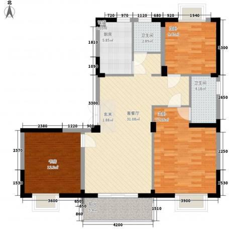临湖社区3室1厅2卫1厨92.00㎡户型图