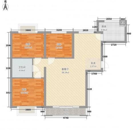 青洲豪庭3室1厅1卫1厨117.00㎡户型图