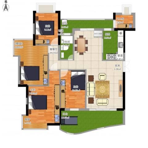 钰海山庄3室1厅1卫1厨162.00㎡户型图