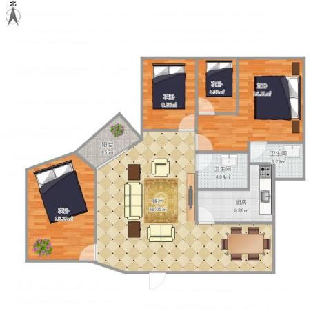 西湖花园6902744室1厅2卫1厨135.00㎡户型图