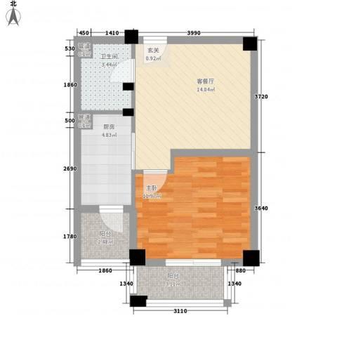 颐和名苑1室1厅1卫1厨40.08㎡户型图