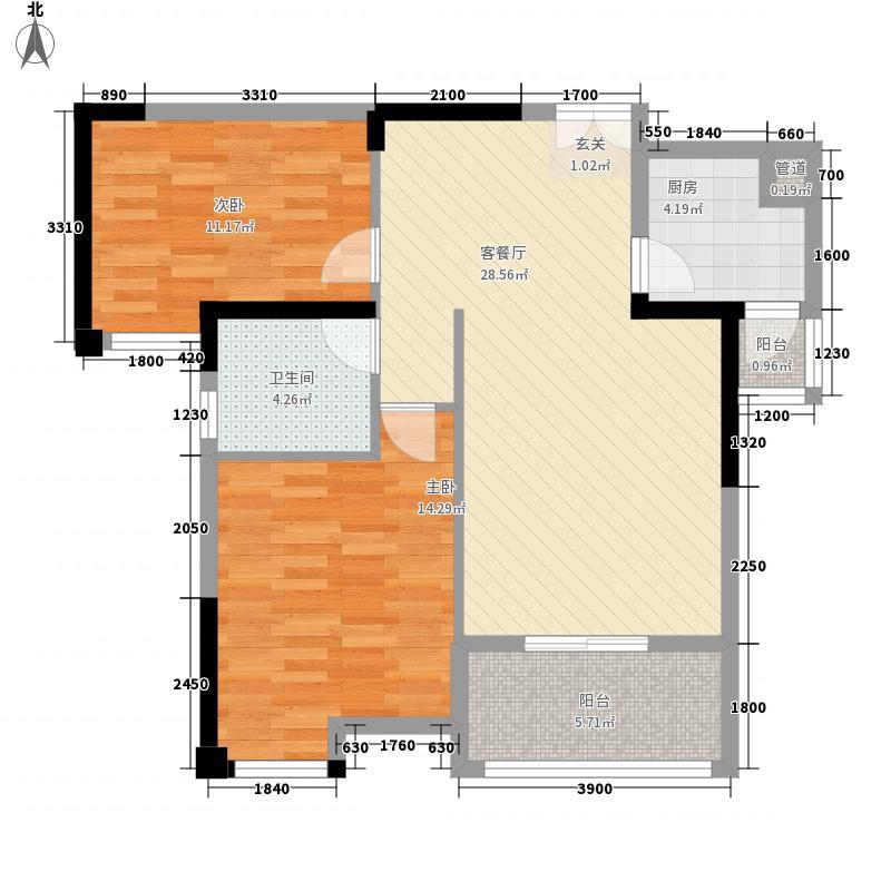 汉口新城公园世家5、6、8#楼A-2B户型2室2厅1卫1厨