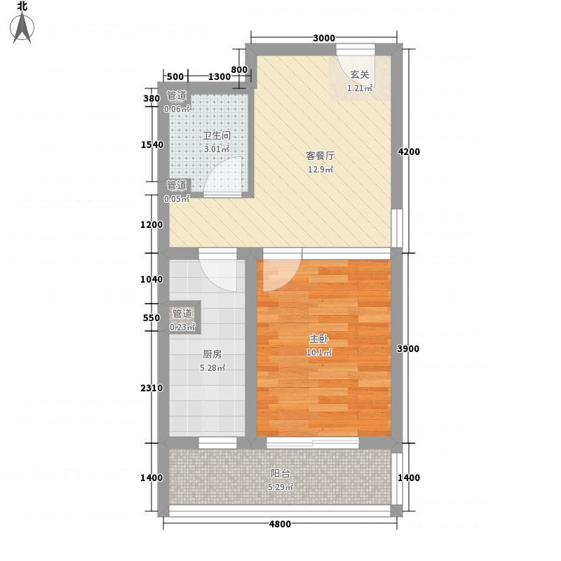 天伦锦城52.25㎡三期1#标准层B户型1室1厅1卫1厨
