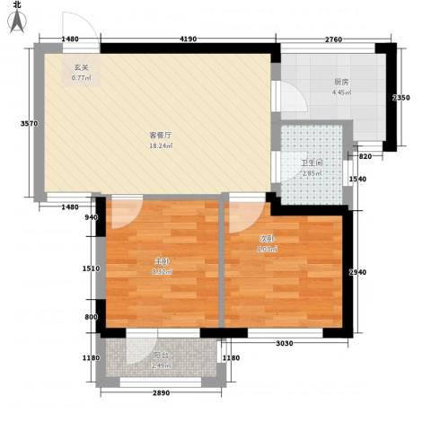 悦泰山里2室1厅1卫1厨64.00㎡户型图