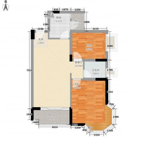水木清晖园2室1厅1卫1厨86.00㎡户型图
