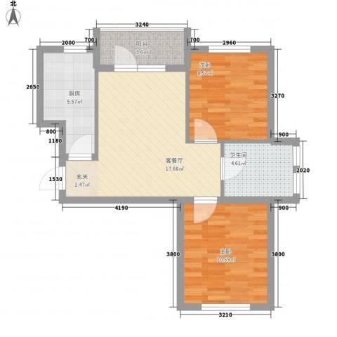 悦泰山里2室1厅1卫1厨73.00㎡户型图