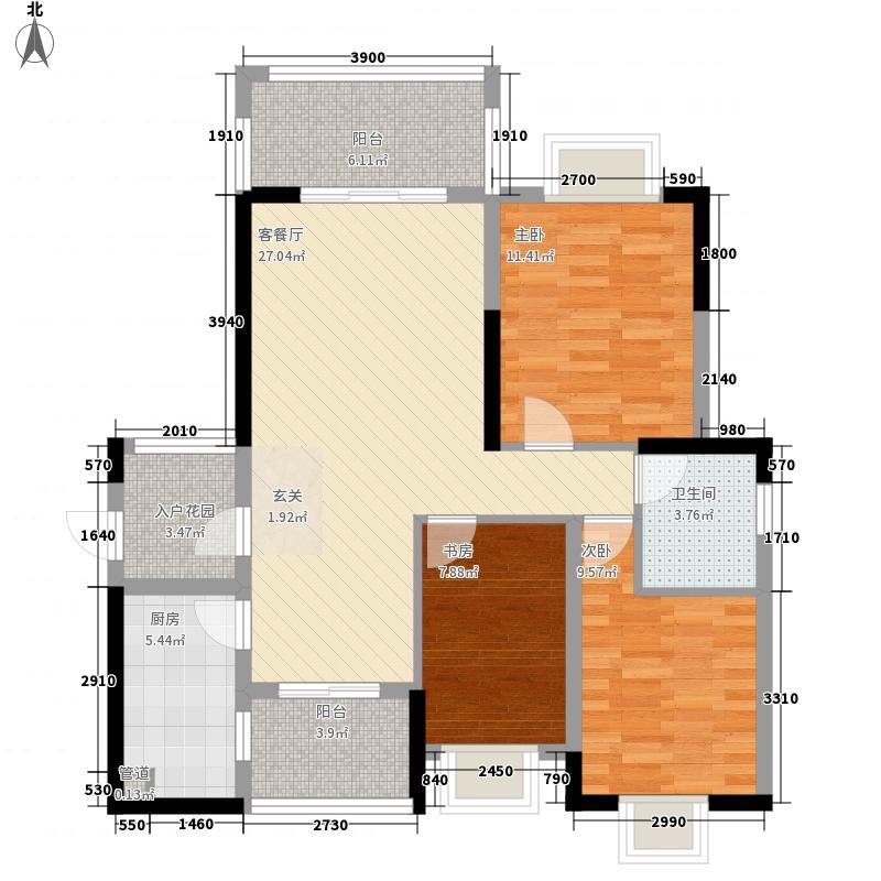 北大阳光1.76㎡2#楼A2标准户型3室2厅1卫1厨