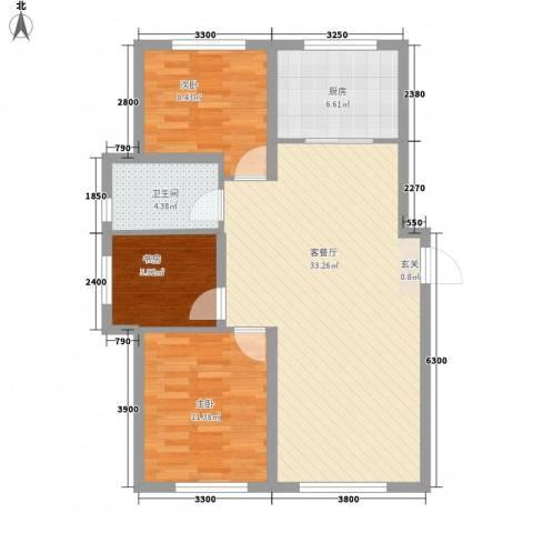 自由向3室1厅1卫1厨98.00㎡户型图