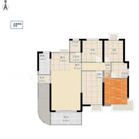 永鸿御景湾4室1厅3卫1厨170.00㎡户型图