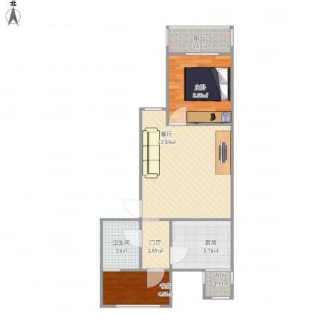 草桥欣园2室1厅1卫1厨65.00㎡户型图