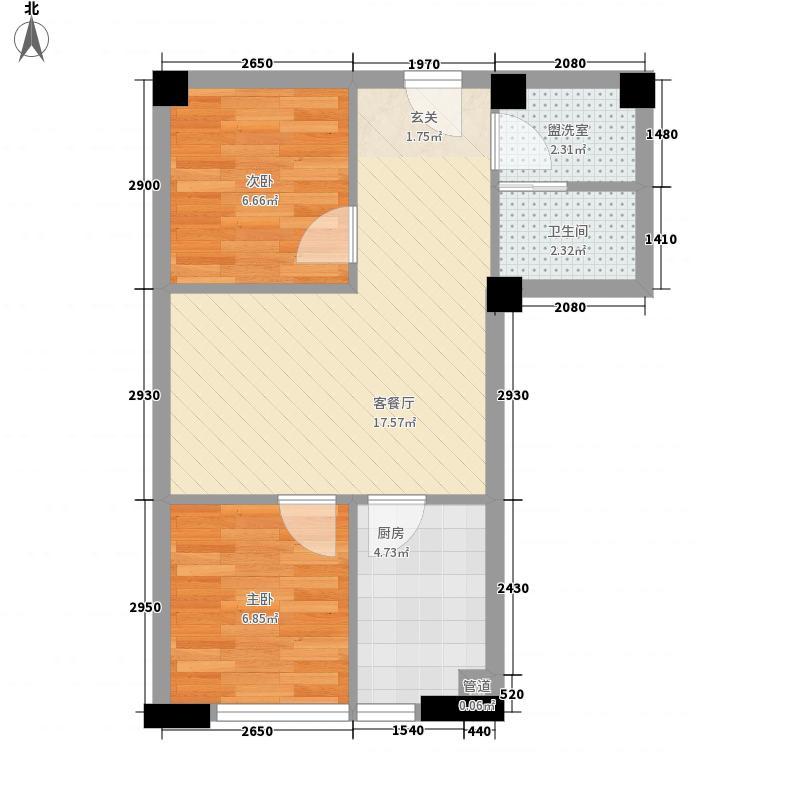 寰辰佳苑58.31㎡b户型2室1厅1卫1厨