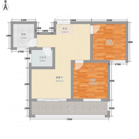 名扬鑫城2室1厅1卫1厨81.00㎡户型图
