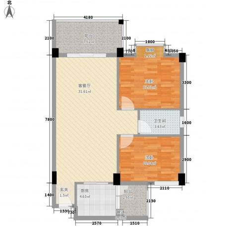 瑜进嘉园2室1厅1卫1厨87.00㎡户型图